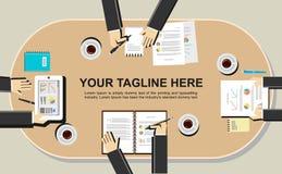 Banerillustration Plana designillustrationbegrepp för möte, diskussion, analys, arbete, ledning, idékläckning, fina Arkivbilder