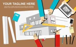 Banerillustration Planlägg och model min äga Plana designillustrationbegrepp för konstruktion, arbete, teckning som är arkitekton Royaltyfri Fotografi
