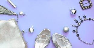 Banerjuluppsättningen av modetillbehör sänker lekmanna- färg för silver för smycken för skohandväskahalsband på purpurfärgad snut arkivbilder