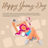 Banerkvinnor lyssnar musiken royaltyfri illustrationer