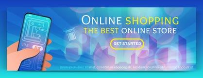 Banermall av den online-shopping och e-komrets Modernt plant designbegrepp av webbsidadesignen för mobil website royaltyfri illustrationer