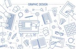 Banermall med grafisk design eller digitala konsthjälpmedel, händer av formgivare som skriver på tangentbordet eller drar på minn royaltyfri illustrationer
