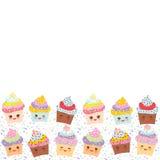Banermallen för din text, kortdesign med muffin roliga Kawaii tystar ned med rosa kinder och blinkaögon, pastellfärgade färger på stock illustrationer