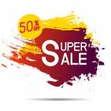 Banerrabattförsäljning 50 procent av design Inspirerat av abstrakta begreppet p? vit bakgrund royaltyfri illustrationer