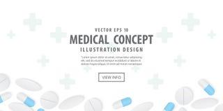 Banerramen capsules medicin och illustration V för bästa sikt för preventivpillerar vektor illustrationer
