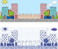 Baners di Cityckape - illustrazione di doodle Immagini Stock