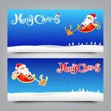 Banersamling för glad jul för hälsningkort Royaltyfri Foto