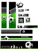 banersamlingsfotboll stock illustrationer