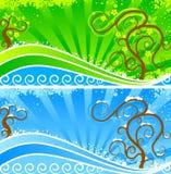 banersommarvinter vektor illustrationer