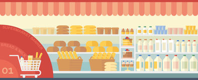 Banersupermarket med mat stock illustrationer