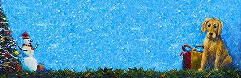 Banersymbol av den gula valphunden för nytt år 2018 med original- målning för gåvaask Glad snögubbe i röda lock och julgran Arkivbilder