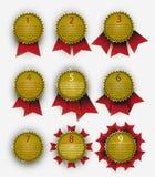 Baneruppsättning av medaljer i form av stjärnor Royaltyfria Bilder
