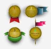 Baneruppsättning av medaljer i form av stjärnor med band Arkivfoto