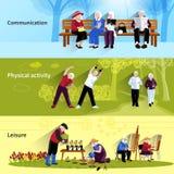 Baneruppsättning för äldre folk vektor illustrationer