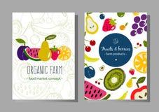 Baneruppsättning för nya frukter royaltyfri illustrationer