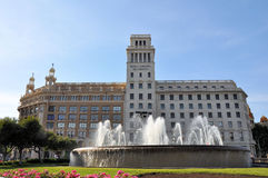 Banesto que builing na plaza Catalunya, Barcelona Imagem de Stock Royalty Free