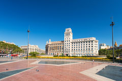 Banesto que constrói no centro de Barcelona Imagem de Stock