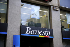 Banesto sits on display outside royalty free stock photography
