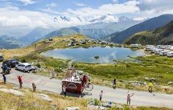 Banette Caravan in Alps - Tour de France 2015. Col de la Croix de Fer, France - 25 July 2015: Banette caravan driving on the road to the Col de la Croix de Fer Stock Images