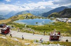 Banette Caravan in Alps - Tour de France 2015. Col de la Croix de Fer, France - 25 July 2015: Banette caravan driving on the road to the Col de la Croix de Fer Stock Photos