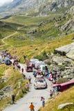 Banette Caravan in Alps - Tour de France 2015. Col de la Croix de Fer, France - 25 July 2015: Banette caravan driving on the road to the Col de la Croix de Fer Royalty Free Stock Photos