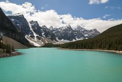 banff加拿大湖冰碛国家公园 免版税图库摄影