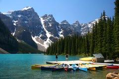 banff加拿大湖冰碛国家公园 库存照片