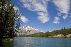 banff加拿大约翰逊湖 库存图片
