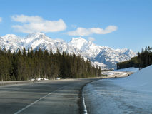Banff. Mountain highway royalty free stock photo