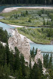BANFF, ALBERTA/CANADA - AUGUST 7 : Bow River and the Hoodoos nea Stock Photos