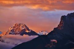 Banff , Alberta , Canada. Dawn at beautiful Canadian Rokies , , Banff National Park , Alberta , Canada Stock Image