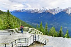 Boardwalk on Sulphur Mountain connecting Gondola landing.Gondola ride to Sulphur Moutain overlooks the Bow Valley and the town of. BANFF, ALBERTA, CANADA stock images