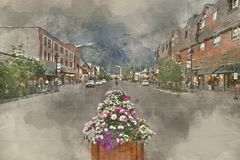 Painterly converted image of Banff main street in Canada royalty free stock photos