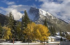 Banff Alberta and Snowy Mountain Rundle Royalty Free Stock Photo