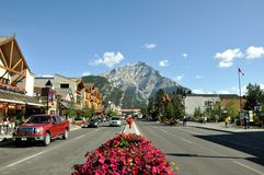Banff Avenue on August 4, 2011 in Alberta, Canada stock image