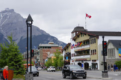 Banff Avenue on May 28, 2016 in Banff Stock Image