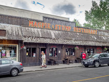Banff Avenue shops and tourists Royalty Free Stock Images