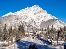 Banff Avenue in winter Royalty Free Stock Photos