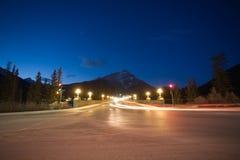Banff bij nacht Stock Fotografie