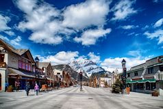 BANFF, CANADA - APRIL 12, 2018: Busy Banff Avenue in the Banff N royalty free stock image