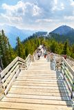 Sulphur Mountain in Canadian Rockies of Banff National Park. BANFF, CANADA - AUG 1, 2018: Visitors walk the wooden boardwalk on top of Sulphur Mountain between royalty free stock photos