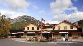 BANFF, CANADA - SEPTEMBER 3, 2016:  Historic Banff Train Station. On 3 September 2016 in Banff, Canada. The station building in Banff is located near the city Stock Image