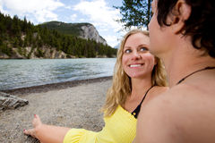 Banff Holiday. A happy couple on a holiday in Banff, Canada royalty free stock photography