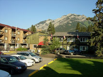 Banff Motels. With the beautiful Rockies in the background, some motels of Banff Royalty Free Stock Photo