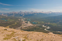 Banff with mountain backdrop Stock Image