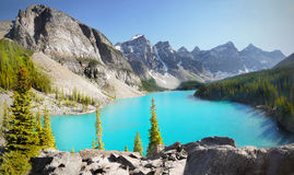 Canada, Mountains Landscape, Moraine Lake Royalty Free Stock Photos