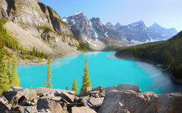 Banff National Park, Alberta, Canada. Panorama - Moraine Lake in Banff National park, Canadian Rockies, Alberta, Canada stock photo