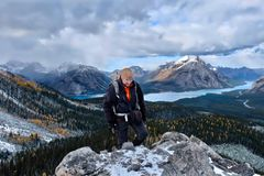 Hiking in Canadian Rockies near Lake Louise in winter. Royalty Free Stock Photo