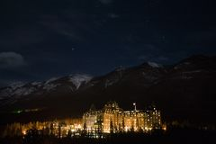 Banff at night stock photo