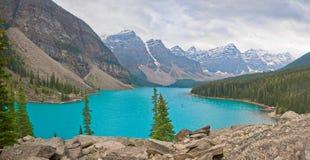 Banff Panorama of Moraine Lake royalty free stock photo